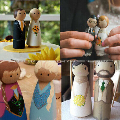 10pcs 65mm Natural Wooden Painting DIY Toy for People Peg Dolls Creative Gift UK