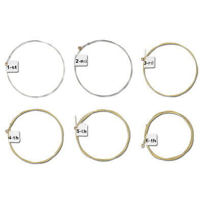 Set of 6 Replacement Steel Strings for Acoustic and Western Guitars, Numbered