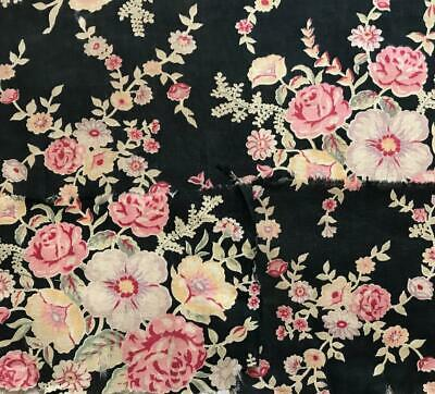 3 FRAGMENTS BEAUTIFUL VINTAGE FRENCH COTTON c1930s ROSES AND FLOWERS 243.