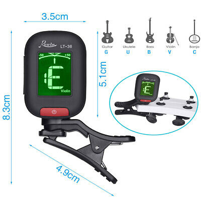 Chromatic Tuner - Clip-On Tuner - Guitar, Ukulele & Violin Electric Mini LCD UK