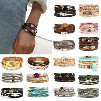 New Women Multi-layer Leather Crystal Magnetic Clasp Bracelet Bangle Wristband