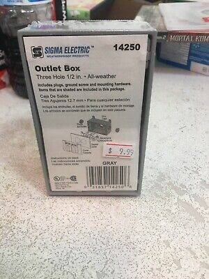 """Sigma Electric Three Hole 1/2"""" Outlet Box, Sealed New"""
