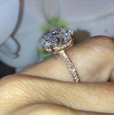 2.50Ct Oval Cut VVS1/D Diamond Solitaire Engagement Ring 14K Rose Gold Finish