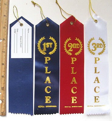 48 SATIN AWARD RIBBONS SPORT SCHOOL EVENT RECOGNITION 16 ea. 1st, 2nd, 3rd PLACE