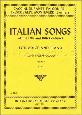 Italian Songs of the 17th and 18th Centuries Low Voice Vocal SAME DAY DISPATCH