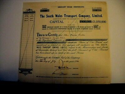 South Wales Transport (bus co.) Used Share Certificate 1963