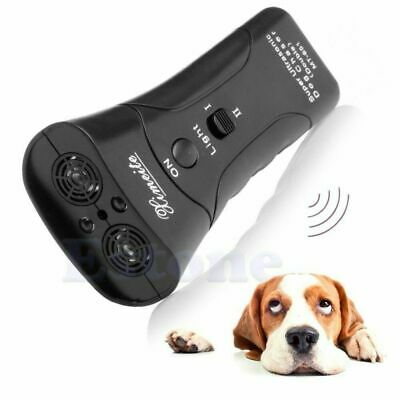 Ultrasonic Anti Dog Barking Pet Trainer LED Light Gentle Chaser Transmitter New