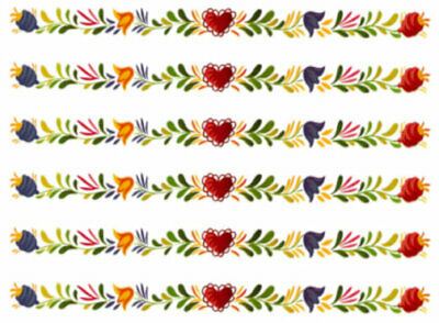 Vintage Image Retro Folk Art Flowers Hearts Banner Swag Transfers Decals FL553