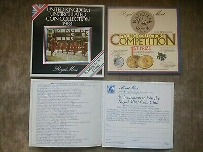 1983 Royal Mint Brilliant Uncirculated coin collection includes 1st round pound