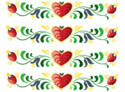 Vintage Image Retro Folk Art Flowers Hearts Banner Swag Transfers Decals FL554