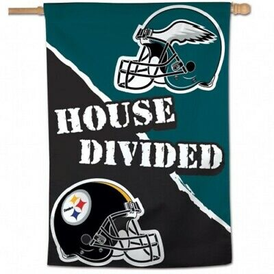 NFL Pittsburgh Steelers Philadelphia Eagles 28 x 40 Vertical House Divided Flag