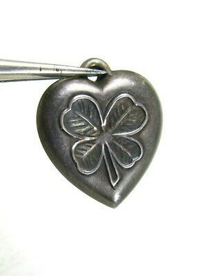 Antique Victorian Sterling Silver 4 Leaf Clover Puffy Heart Ladies Charm 1.0g