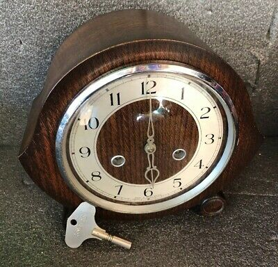 Wooden Cased Chiming  Mantle Clock + Original Key Smiths Of Enfield