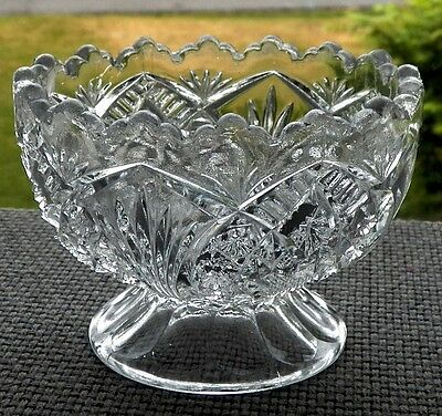 Fine Decorative Antique Clear Glass & A Well Designed Footed Holder Sawtooth Rim