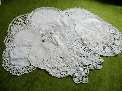 VINTAGE/ANTIQUE MATS - HAND CROCHET/EMBROIDERED - Col.12 - WHITE
