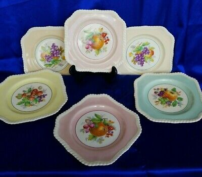 6 Johnson Bros Salad Plates England Fruit Old English PINK YELLOW GREEN