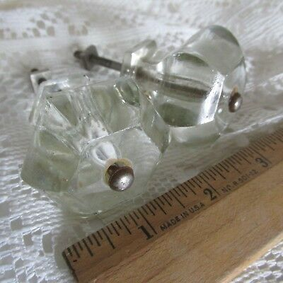Two Vintage Solid Clear Glass Furniture Knobs Pulls  Set w/ Bolts 1 1/2""
