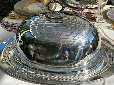 Antique Large English Silver Plate Dome Cover & Tray Hallmarked
