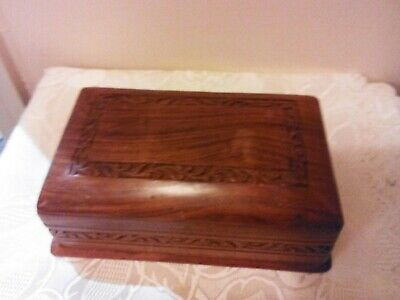 VINTAGE CARVED WOODEN BOX with SECRET OPENING SLEEVE