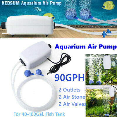 Aquarium Air Pump Fish Tank Mini Air Compressor Oxygen Pump 8W 90GPH 40-100gal