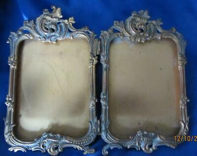 """ORNATE Brass Antique Picture Frame - DOUBLE Hinged Frame   9-1/2"""" x 8"""" tall"""""""