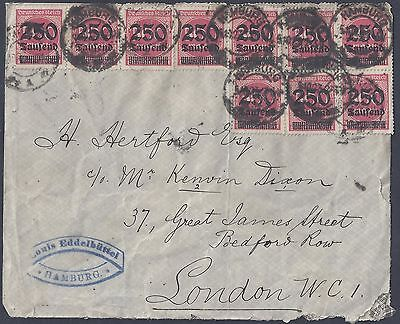 Germany 1923 Inflation Franked Cover With Millions Of Marks Hamburg To London