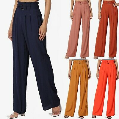 TheMogan Paperbag Elastic High Waisted Belted Draped Woven Wide Leg Pants