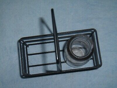 Antique Dairy Clear Glass Pontil Milk Cream bottle & wrought iron carrier tote