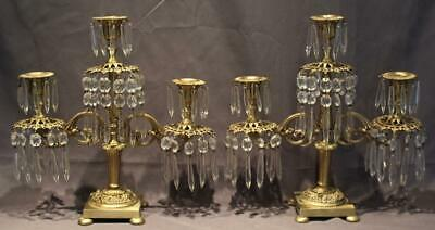 Pair Antique French Gilt Bronze Patina Candelabra w/ Cut Crystal Glass Prisms