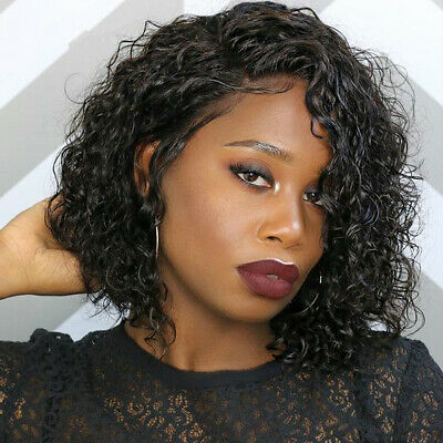 Short Bob Lace Front 8'' Curly Human Hair Wigs Baby Hair Pre-Plucked Real Hair
