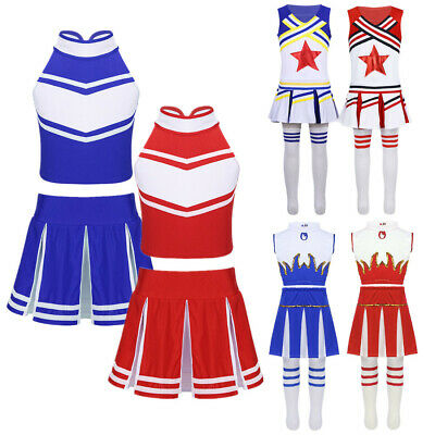 Cheerleader Costume Girls Kids High School Sports Uniform Cos Fancy Dress Outfit