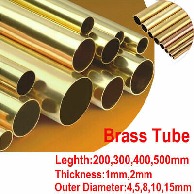 200 300 400 500mm Brass Round Tube Rod Copper Pipe 1 2 3mm Wall 4/5/8 - 30mm OD