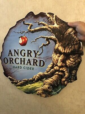 """🍎 Angry Orchard Hard Cider Embossed Metal Sign 19.5"""""""