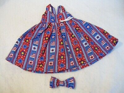 "Americana/Patriotic Stars & Flags Sundress & Headband--Made To Fit 18"" Girl Doll"