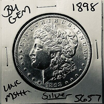 1898 Bu Gem Morgan Silver Dollar Unc Ms++ Genuine U.s. Mint Rare Coin 5657