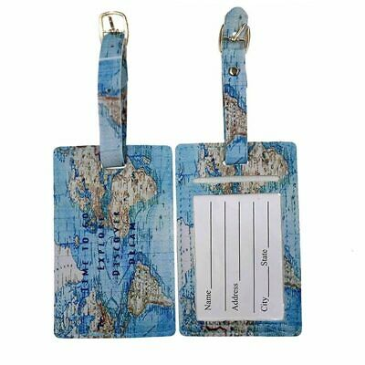 Travel Accessories PU Leather World Map Luggage Tag Fashion Suitcase ID Address