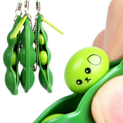Squeeze-a-Bean Stress Relieving Keychain Hand Fidget Sensory Toy For Autism FUN