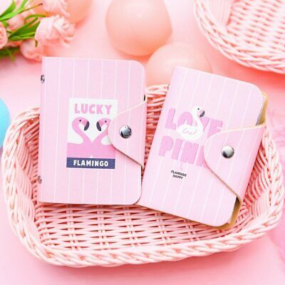 Travel  Cartoon Flamingo Card ID Holders Small Bank Bus Credit Card Holder Girl