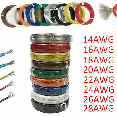 5M 10M Silicone Wire Cable 18 20 24 26 28 AWG Flexible Tinned Copper Line Colors