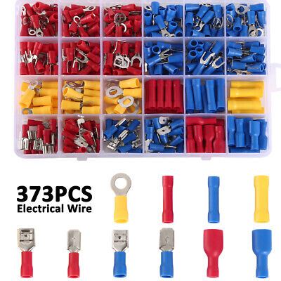 373pcs Electrical Cable Wire Connectors Assorted Insulated Crimp Terminals Spade