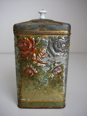 Vintage Tea Tin 3D Roses on Sides Collectable Unusual