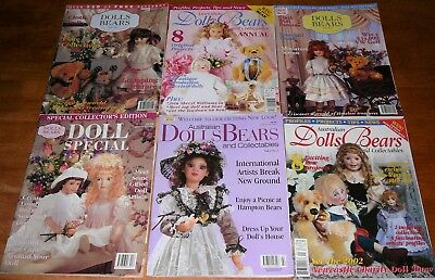 Australian Dolls Bears Collectables Magazines Patterns Instructions x 6 (A)