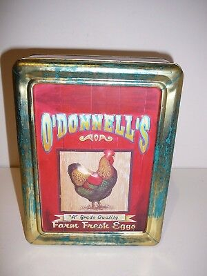Walkers Biscuit Tin O'Donnell's Farm Fresh Eggs Cute Tin Advertising