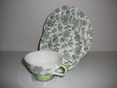Red Vanilla trio cup saucer plate Ceramic Green Blue Mauve Flowers Chintz