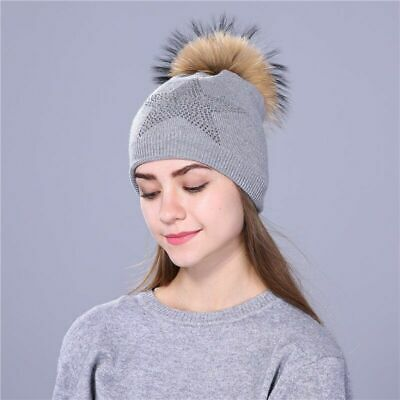 Winter Five Pointed Star Beanies Knitted Hat For Women Raccoon Fur Pom Poms Wool