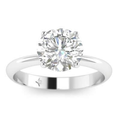 White Gold Timeless 4-Prong Tapered Round Diamond Engagement Ring - 2.00 ct F/SI