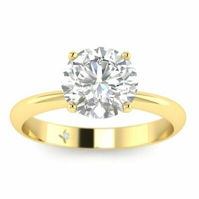 Yellow Gold Timeless 4-Prong Tapered Round Diamond Engagement Ring - 2.00 ct F/S
