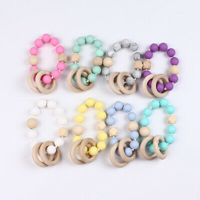 Baby Silicone BeadsTeether Wooden Ring Teething Toy Bracelet Chain Chewing
