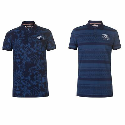 SoulCal AOP Polo Shirt Mens Collared Top Tee Navy Floral Small