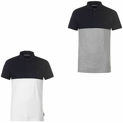 French Connection Block Coloured Polo Shirt Mens Collared Top Marine White Small